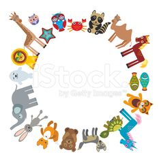 cartoon animals character bear elephant fox giraffe horse lion camel royalty-free stock vector art