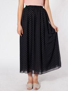 American Apparel - Polka Dot Chiffon Double-Layered Full Length Skirt
