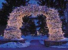 the antler arch is interesting  could do a smaller scale one for a wreath Jackson Hole, Wyoming.. such an awesome ski spot