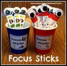 Free printables to make your own classroom set of focus sticks.  Students use focus sticks to develop and assess their own writing. Free corresponding classroom poster set.