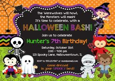 Halloween birthday invitation printable by kidspartyprintables halloween birthday invitation printable kids halloween party stopboris Image collections