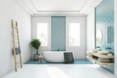 White and blue bathroom interior with a round white tub, two narrow windows, a tree in a pot and a ladder in a corner. rendering mock up Bathroom Renovation Cost, Budget Bathroom, Bathroom Remodeling, Blue Bathroom Interior, White Bathroom, Modern Bathroom, Colorful Bathroom, Simple Bathroom, Ideas