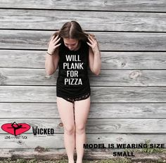 Will plank for pizza custom made Ultra soft Ladies muscle tank Barre yoga workout muscle tank top