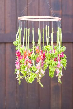 Hanging flower chandelier- 20 Cute and Easy DIY Projects Perfect for Summer Home Decoration