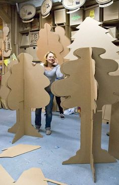 "Workshop ""Made in Cardboardia"". September on Behance Cardboard Sculpture, Cardboard Furniture, Cardboard Crafts, Cardboard Playhouse, Diy Backdrop, Backdrops, Circus Background, New Year Diy, Pine Cone Art"