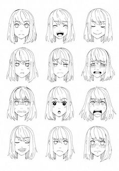 How to Draw Anime How to Draw Manga Hair Ideas - How to Draw Anime How to Draw Manga Hair Ideas - Drawing Face Expressions, Anime Faces Expressions, Drawing Faces, Anime Drawings Sketches, Anime Sketch, Character Drawing, Character Design, Wie Zeichnet Man Manga, Manga Drawing Tutorials