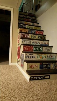 License plate basement stairs