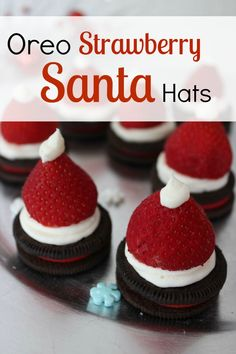 Oreo Strawberry Santa Hats :: Christmas Recipes