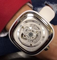SevenFriday nisex white dial and strap.  47mm x 47.6mm. Watch