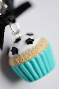 Turquoise Cupcake Polymer Clay Necklace