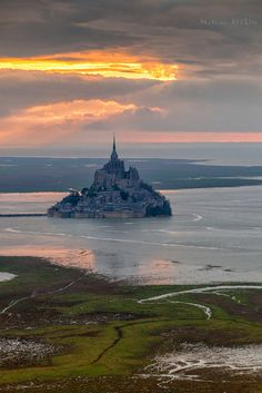 Sunset over Mont Saint-Michel France