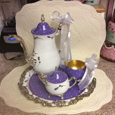 Antique silver plated tea set/Custom Painted by macnme on Etsy https://www.etsy.com/listing/262680649/antique-silver-plated-tea-setcustom