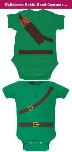Halloween Robin Hood Costume Kelly Green Soft Baby One Piece - 9-12 months. Steal from the rich and give to the poor this Halloween. Featuring an all-over Robin Hood costume, now your kid can be everyone's favorite thief! This Old Glory design is printed on a high-quality 100% soft cotton baby one piece with a snap closure.
