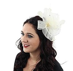 Ballroom Beautiful Fascinator Hat with Rhinestones and Hair Clip for Adults  Women Teens Girls (Ivory 9bef1c036d2