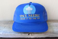 SPACE NEEDLE 'I Made It To The Top' Vintage 80s Mesh Snapback Trucker Hat @ HatsForward
