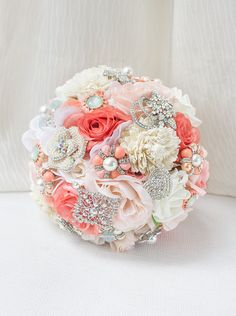 Coral Bridal Bouquet Coral Bouquet Jewelry Bridal by AMYOBridal