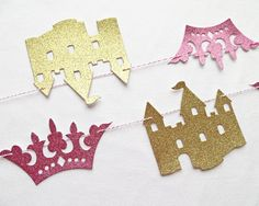 Glitter Princess Garland - Crown and Castle - Princess Party Garland Princess Birthday Banner Glitter Party Garland Crown Garland Castle
