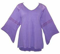 ROAMANS Denim 24/7 1X Lilac Gauze 3/4 Sleeve Hi-Lo Hem Tunic Top Blouse-NWOT $54#Roamans#Womens#PlusSize#Gauze#Tunic