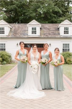 bride and bridesmaids in mint dresses pose outside The English Manor | Romantic summer wedding at The English Manor in Ocean, NJ photographed by New Jersey wedding photographer Idalia Photography. See more ideas for a classic wedding day here! #IdaliaPhotography #EnglishManorWedding #ClassicWedding Brides And Bridesmaids, Bridesmaid Dresses, Wedding Dresses, Wedding Gallery, Wedding Photos, Pronovias Wedding Dress, Mint Dress, English Manor, Natural Light Photographer