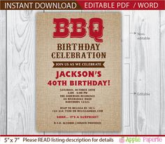 bbq invitation / bbq birthday invitation / birthday bbq invitation / 40th birthday invitation / 40th birthday invitation for men / 50th 60th by ApplePaperie on Etsy