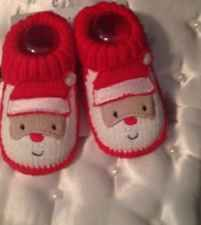 Carter's Santa Claus Baby Booties 0-6 months NWT Christmas Red White Holiday New