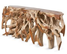 The Pacific deep-root teak console table is crafted from natural teak wood. Each table is unique and truly a piece of natural sculpture for your home.Also available in a cocktail table model. Trunk Furniture, Unique Furniture, Accent Furniture, Cheap Furniture, Rustic Furniture, Contemporary Furniture, Table Furniture, Furniture Ideas, Bedroom Furniture