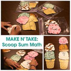Need a SWEET idea for a math activity? Try our Scoop Sum Math Make N' Take! Just use our Ice Cream Cut-Outs or make your own! Just place numbers on the cones and scoops and separately evenly in to bags. Then have your students sum up the scoops to equal the amount on the cones!