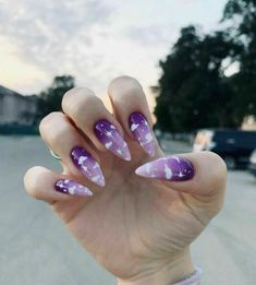 127 awesome acrylic coffin nails designs in summer -page 7 > Purple Acrylic Nails, Blue Nail, Best Acrylic Nails, Summer Acrylic Nails, Purple Nails, Summer Nails, Aycrlic Nails, Manicure, Coffin Nails