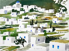 Watercolor Architecture, Watercolor Landscape, Abstract Landscape, Landscape Paintings, Watercolor Projects, Watercolor Sketch, Watercolor Paintings, Watercolors, Landscape Illustration