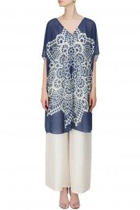 Navy Blue And White Geometric Print Wrap Kaftan #shopnow #newcollection #nikimahajan#happyshopping #kaftan #clothing