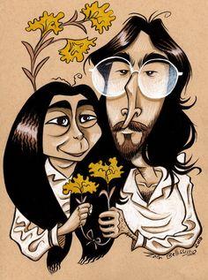He wanted me to draw caricatures of John Lennon and Yoko Ono for his girlfriend. John and Yoko Commission Funny Caricatures, Celebrity Caricatures, John Lennon Yoko Ono, Beatles Art, Digital Painting Tutorials, Cartoon Faces, Music Humor, Hippie Art, Cool Artwork