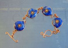 Blue and Copper Holidays bracelet by Desiree McCrory