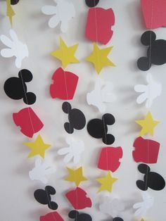mickey mouse inspired paper garland banner decorations birthday clubhouse black white red yellow by ForAHappyDay on Etsy https://www.etsy.com/listing/122400894/mickey-mouse-inspired-paper-garland