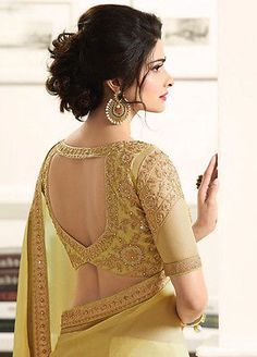 latest bollywood designer indian wedding bridal party Georgette saree sari dress in Choli Designs, Saree Blouse Neck Designs, Saree Blouse Patterns, Bridal Blouse Designs, Indian Blouse Designs, Golden Blouse Designs, Traditional Blouse Designs, Choli Blouse Design, Designer Blouse Patterns