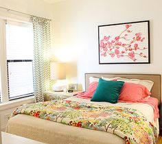 A pink and teal bedroom