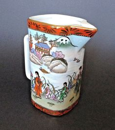 Nippon-Noritake-Pitcher-With-Hand-Painted-Wrap-Around-River-Scene-And-Gilding