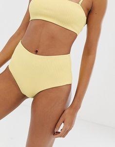 Weekday high waist bikini brief in Summer Bathing Suits ASOS Bikini high waist Weekday Yellow Bathing Suit Skirt, Bathing Suits Cheeky, Bathing Suits For Teens, Summer Bathing Suits, Swimsuits For Teens, Women Swimsuits, Yellow Bathing Suit, Vintage Swimsuits, Bikini Vintage