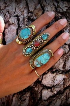 Boho Turquoise jewellery - love this stuff. I have some of my Mother's jewelery from the Boho Jewelry, Jewelry Box, Jewelry Accessories, Fashion Accessories, Fashion Jewelry, Boho Rings, Jewlery, Fashion Rings, Gypsy Rings