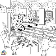 Kids activities printable birthday cake coloring pictures of Thomas the train and Percy tank engine