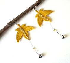 Autumn Leaf Earrings Felt and Faceted Bead Ochre and by EcoYagual, $24.00