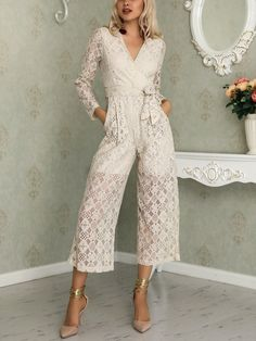 ee06e704a095 Long Sleeve Lace Crochet Belted Jumpsuit (S M L XL)  35.99