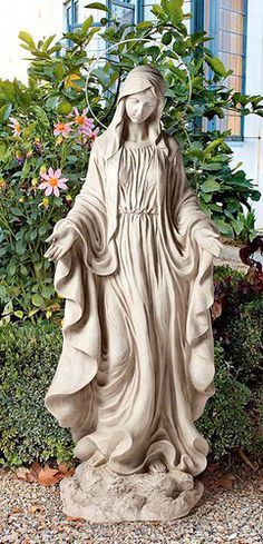 Blessed Virgin Mary with Halo Sculpture Garden Religious Decor