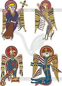 Celtic symbols of four evangelists - vector clip art