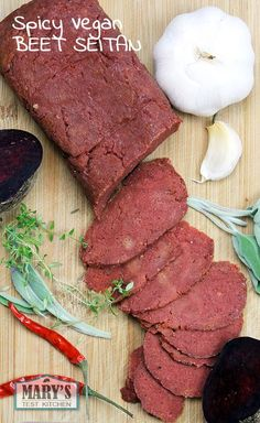 This spicy seitan gets it's red color from beets. The combination of spices in this recipe are similar to those you might find in pepperoni, giving this seitan a hearty, smoky flavor that is great in sandwiches, stir fries, and other savory dishes. Seitan Recipes, Veggie Recipes, Whole Food Recipes, Vegetarian Recipes, Cooking Recipes, Vegan Beet Recipes, Vegan Corned Beef Recipe, Sushi Recipes, Vegan Foods