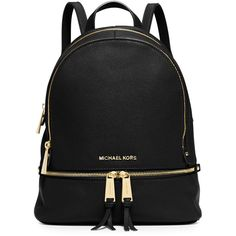 Michael Michael Kors Rhea Small Zip Backpack (8 160 UAH) ❤ liked on Polyvore featuring bags, backpacks, purses, black, backpack bags, genuine leather backpack, leather knapsack, leather zip backpack and leather zipper backpack
