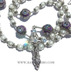 Capped Pearl Rosary w/Purple Rhinestone Antique Beads