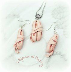 Parure collana e orecchini, scarpette danza classica, polymer clay