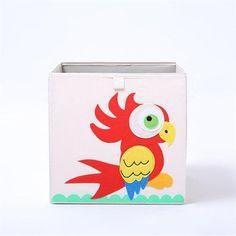 Cube storage box - parrot Fabric Storage Boxes, Storage Buckets, Cube Storage, Toy Storage, Storage Ideas, Folding Laundry Basket, Underwear Storage, Nursery Toys, Large Baskets