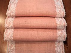 Pink Burlap and Lace Table Runner Blush Pink Table Runners