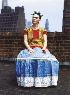 Kahlos traditional attire particularly emphasized her Mexican heritage in New York, circa 1946. Photo by Nickolas Muray.